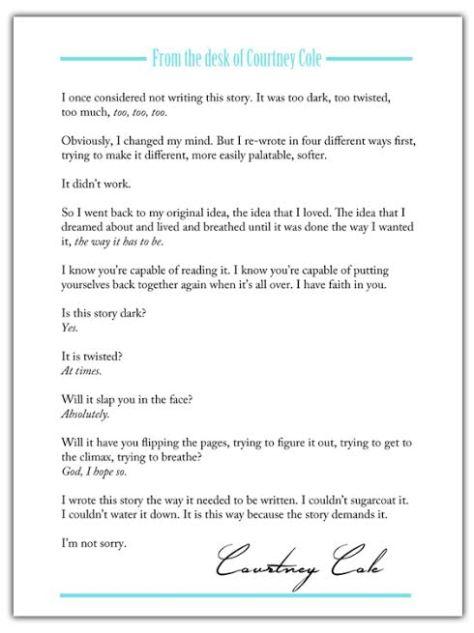 Nocte Forward letter